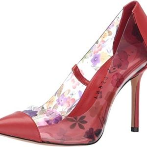 New Katy Perry Melina Red Sangria Heels w Lucite